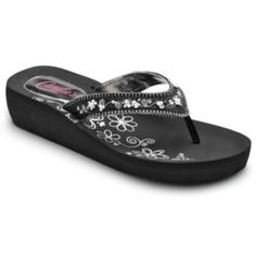 Candie's® Women's Floral ... Simulated Pearl Wedge Flip-Flops 82ePXv