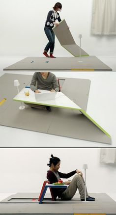 Very interesting idea; a rug that turns into a table. Intriguing!
