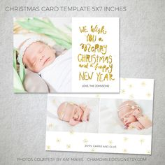 Christmas Card Template - for Photographers and Personal Use - 5x7 Holidays Photo card Template, Photography Templates, Gold Foil, Digital by ChamomileDesign on Etsy https://www.etsy.com/listing/470054066/christmas-card-template-for