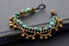 Chandelier turquoise bracelet with tiny bells  #handmade #jewelry #DIY