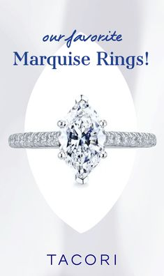"""An ethereal, yet impactful silhouette, the oblong shape of a marquise-cut diamond is flattering yet distinctive. If you're looking for maximum sparkle with a slender, lengthening effect on the finger too, this diamond cut is """"the one"""" for you! #marquise #MarquiseRing #EngagementRing #EngagementRingInspo #DreamRing #Tacori #TacoriRing Marquise Ring, Marquise Cut Diamond, Pear Shaped Diamond, Diamond Cuts, Tacori Rings, Tacori Engagement Rings, Antique Engagement Rings, Dream Ring, Ethereal"""