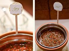 use terracotta pots (with glass dishes inside of them) as salsa/dip holders! & label - DIY