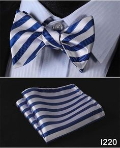 Men's Self Tie Bowtie Pocket Square Set - Blue and Silver striped