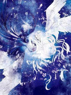 Anime art / Girls Black wings White wings Opposite Cosmos Starry sky Angel