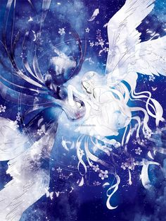 Anime art / Girls Black wings White wings Opposite Cosmos Starry sky Angel