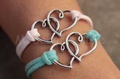 Heart bracelet set of two Valentine's bracelet by ModernLeisure, $7.99