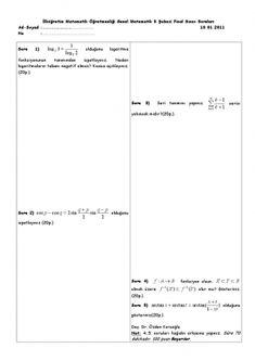 Genel Matematik Final Soruları 2011