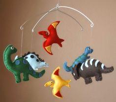 Dinosaur Baby Mobile - T-Rex, Brontosaurus, Pterodactyl, Stegosaurus, and Triceratops (ALL Eco Friendly - Custom Felt Colors Available)