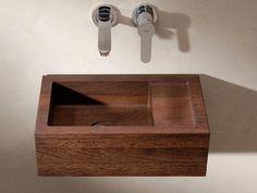 Wooden sink by Van Wijk Dutch Design Trendy Bathroom Designs, Wood Sink, Trendy Bathroom Tiles, Tropical Bathroom, Small Bathroom Vanities, Custom Bathroom Vanity, Modern Bathroom Vanity, Coral Shower Curtains, Bathroom Design