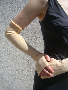 Bridal Gloves Arm Warmers Simple Jersey Mittens by deliriumkredens