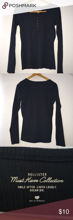 ✨ NAVY BLUE RIBBED LONG SLEEVE BUTTONED TOP ✨ navy blue long sleeve very soft everyday top with buttons, like new condition, no flaws. size L, fits more like S/M.  ⭐️ fast shipper  ⭐️ no trades  ⭐️ prices are always moveable  ⭐️ products can always be cleaned / washed upon request Tops Tees - Long Sleeve
