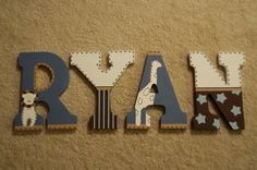 There is no better way to personalize your child's room or nursery than with custom, hand painted letters! I love to create happy, 100% satisfied customers, and I can customize letters to match any design for your child's room. Letters are meticulously painted and sealed. Letters are light enough that they can be hung with generous mounting putty (I hung my daughters letters in this way, and they have been great for over two years). There are also keyhole cutouts in the back for hanging. The…