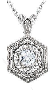 "Pompeii3 F/vs .12ct Solitaire Diamond Vintage Pendant 14k White Gold & 18"" Chain."