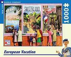 New York Puzzle Company - American Airlines European Vacation - 1000 Piece Jigsaw Puzzle