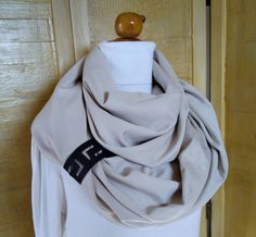 Fashion infinity scarf with leather cuff , infinity scarves , Brown leather cuff , scarves , scarf , womens scarve.accessories