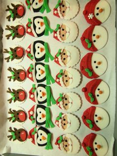 Christmas Cupcakes Cupcakes I made for my granddaughter's Christmas party play date. Chocolate fudge with cream cheese icing,. Christmas Cupcake Toppers, Christmas Cupcakes Decoration, Christmas Sweets, Christmas Cooking, Christmas Goodies, Christmas Cakes, Fondant Toppers, Fondant Cupcakes, Fun Cupcakes