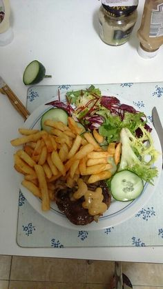 Steak with French fries and veggies - just delicious