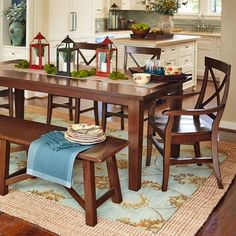 Torrance Dining Set - Mahogany Brown from Pier 1 Imports Pier 1 Dining Table, Trestle Dining Tables, Dining Room Sets, Table And Chairs, Wooden Tables, Color Caoba, Mahogany Brown, Extension Dining Table, Kitchen Sets