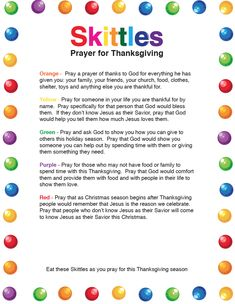 Simple Prayer Ideas for Hurricane Florence. Print this Skittles Prayer Reminder to Help Encourage Everyone at Your Church, Kids Church or Sunday School to Pray for Those Affected By Hurricane Florence. Kids Church Lessons, Bible Lessons For Kids, Sunday School Lessons, Bible For Kids, Fhe Lessons, Object Lessons, Thanksgiving Messages, Thanksgiving Activities, Thanksgiving Prayers For Family