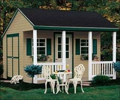 Backyard Cabana Storage Garden Shed with Porch and Patio Furniture