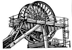 ARTFINDER: Woodhorn Colliery Winding Gear by Ieuan Edwards - My heritage lies in the Rhondda Valleys, an (ex) coal mining area of South Wales. This linocut portrays the winding gear at Woodhorn Colliery, Northumberlan...