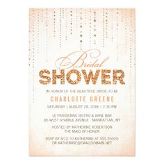 Sparkly Peach Glitter Bridal Shower Invitation