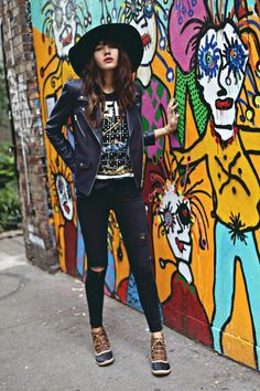 @natalieoffduty on The Cut @nymag in her VEDA Lazer Classic leather motorcycle jacket in navy blue