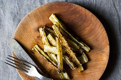 Anna Klinger's Grilled Swiss Chard Stems with Anchovy Vinaigrette, a recipe on - definitely need to try this. I alway just throw my chard stems away.so wasteful! Anchovy Sauce, Vinaigrette Dressing, Grilled Vegetables, Veggies, Cookout Menu, Cornbread Salad, Warm Salad, Food 52, Vegan