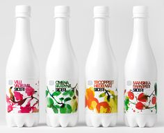 Bond creative agency, illustrations by Stina Persson Packaging of the World: Creative Package Design Archive and Gallery: Olvi Cider Juice Packaging, Cool Packaging, Beverage Packaging, Bottle Packaging, Brand Packaging, Bottle Labels, Innovative Packaging, Drink Labels, Stina Persson