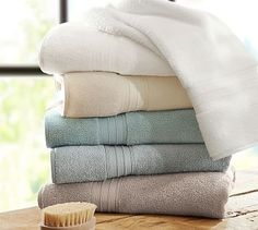 Hydrocotton Bath Towels #potterybarn Luxe Towels - Grey, Taupe, or Porcelain Blue