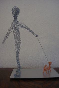 Homme avec chien - Mann mit Hund, fil de fer - Draht, 2012