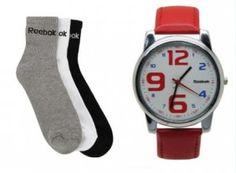 combo of 3 reebok Socks and red reebok Watch-reebads(