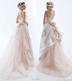 Light cotton candy pink wedding dress with rosettes from RS Couture Silver Collection by Renato Savi