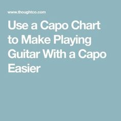 Capos allow guitarists to play in tricky keys using basic open chords, but they can be confusing. A guitar capo chart can help make this task easier. Classical Guitar Lessons, Basic Guitar Lessons, Guitar Lessons For Beginners, Music Lessons, Art Lessons, Guitar Notes, Music Guitar, Playing Guitar, Learning Guitar
