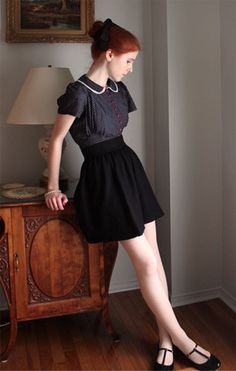 Kimchi Blue Button Down Blouse, Black Skirt, Patent T Strap Skimmer, Hair Bow, Sheer White Tights