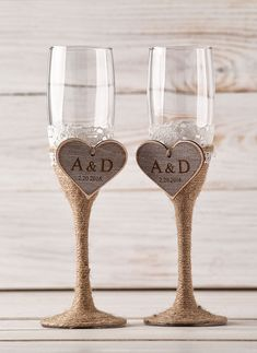Wedding Champagne Glasses Bride and Groom by InesesWeddingGallery