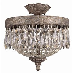 Brand New Two Light  Flush Mount with Crystal in Dark Bronze/Gold