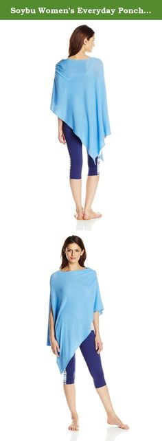 Soybu Women's Everyday Poncho, Moonstone, One Size. This Poncho fits its name-ann everyday piece for layering either to the gym or to the office, our cozy Poncho made of our softest featherweight yarn comes in one size fits most and can be worn a variety of ways.