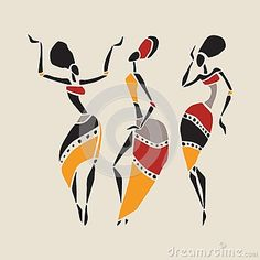 african+ethnic+fashion | Figures of african dancers. Dancing woman in ethnic style. Vector ...