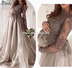 Abendkleider lang 2016 Long Pregnant Evening Dresses For Women Lace Long Sleeves Organza Formal Dresses Maternity Evening Gowns-in Evening Dresses from Weddings & Events on Aliexpress.com | Alibaba Group