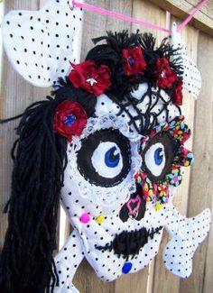 Skull - Day of the Dead - Sugar Skull - OOAK - Wall art