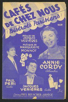 ANNIE CORDY - CAFÉS DE CHEZ NOUS - BISTROTS PARISIENS - WALZER - 1950 MUSIKNOTE