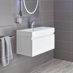Mino 800 drawer unit and basin - white gloss image 1 Sink Vanity Unit, Vanity Basin, Bathroom Vanity Units, Sink Units, Wall Mounted Vanity, Bathroom Sinks, Bathroom Cabinets, Contemporary Bathroom Furniture, Modern Bathroom