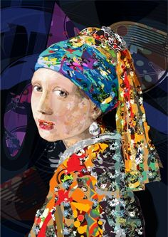 vector art cm Vector art based on Johannes Vermeer The Girl with a Pearl Earring, This is the second study from artwork . Johannes Vermeer, Collage Portrait, Collage Art, Portraits, Art Plastic, Girl With Pearl Earring, Kunst Online, Art Base, Famous Art
