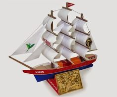 PAPERMAU: Red Sea Japanese Sailing Ship Paper Model For Kids - by Kirin