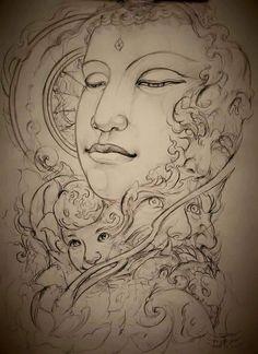 Buddha Lotus Tattoo, Buddha Tattoos, Mandala Tattoo, Buddha Artwork, Buddha Painting, Ozzy Tattoo, Buddha Drawing, Tibet Art, Thangka Painting