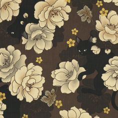 Neko Kimono Floral With Cats - Brown