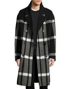 N3YWD Burberry Double-Breasted Large Check Overcoat, Black