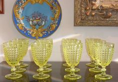 12 EAPG Thousand Eye Yellow Canary Goblets Vaseline Glass Made of Uranium 10 Oz  | eBay
