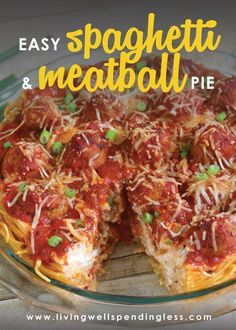 Want a fun and tasty dinner? This easy spaghetti and meatball pie recipe comes together in just minutes and is sure to become a family favorite! Pasta Recipes, Beef Recipes, Dinner Recipes, Cooking Recipes, Fall Recipes, Dinner Ideas, Meatball Recipes, Beef Meals, Spaghetti Recipes